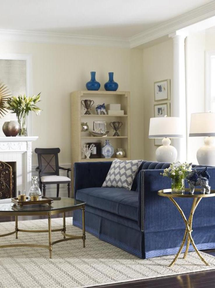 blue sofa in chic living room