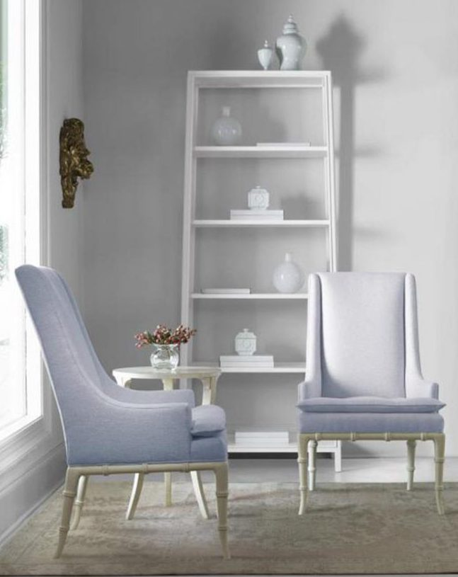 gray and purple living room design