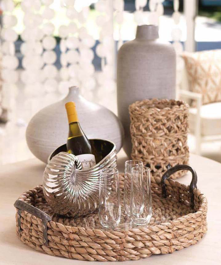 woven tray with bar items