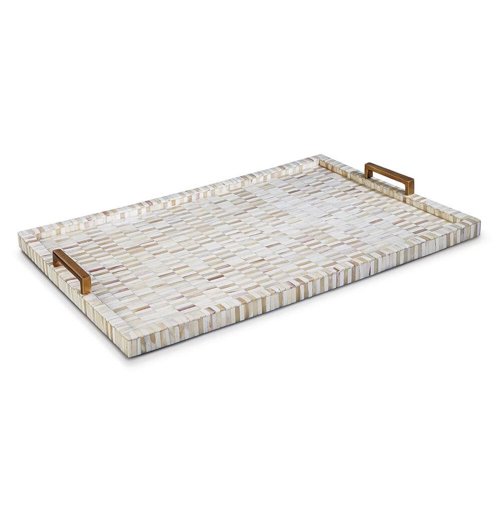 white tray with metal handles