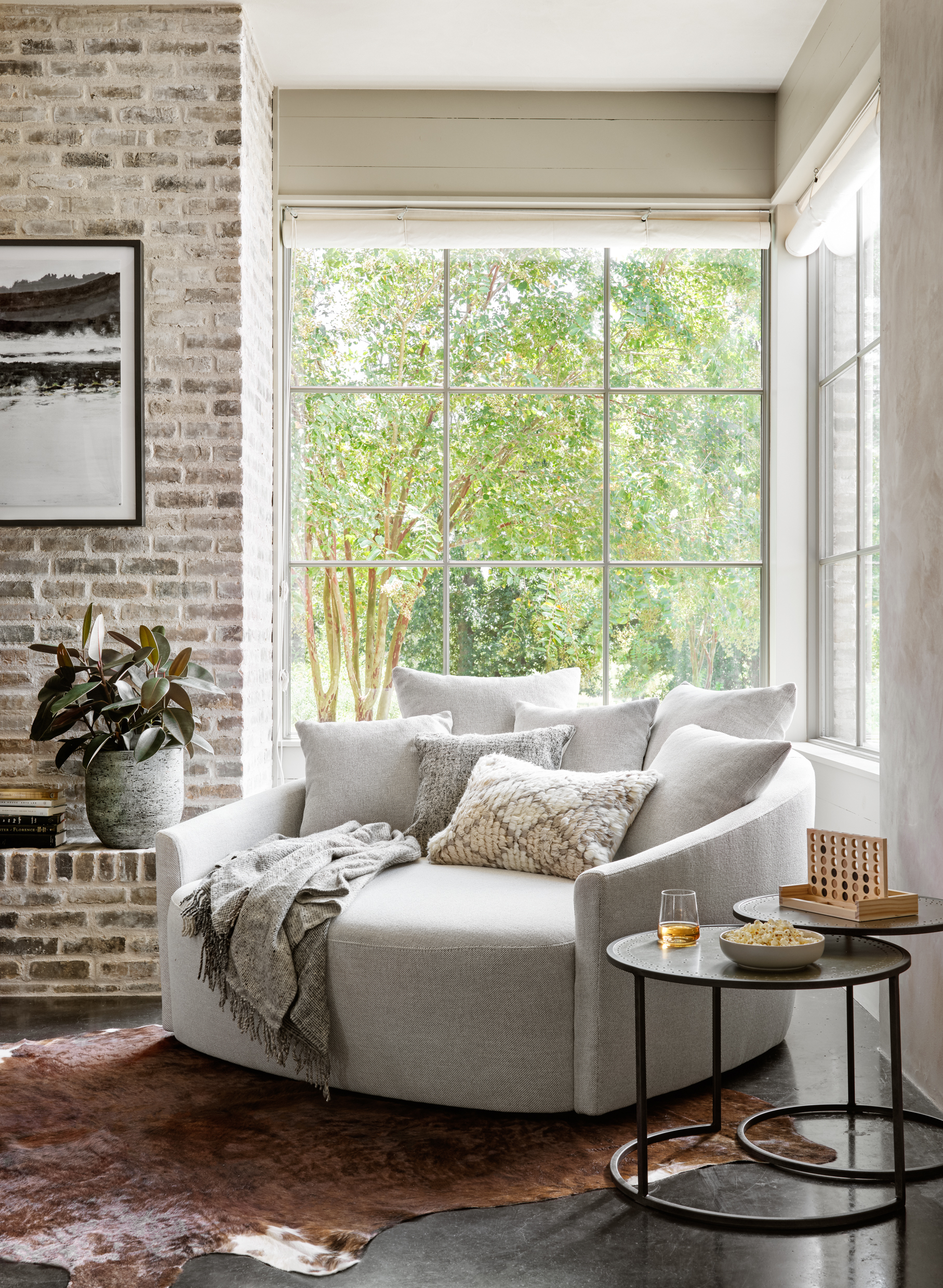 cozy brick walled living room