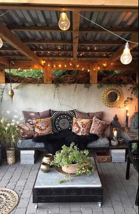 outdoor boho patio