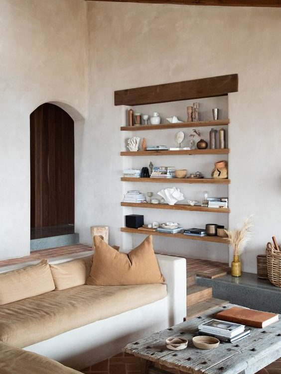 living room interior with styled shelves