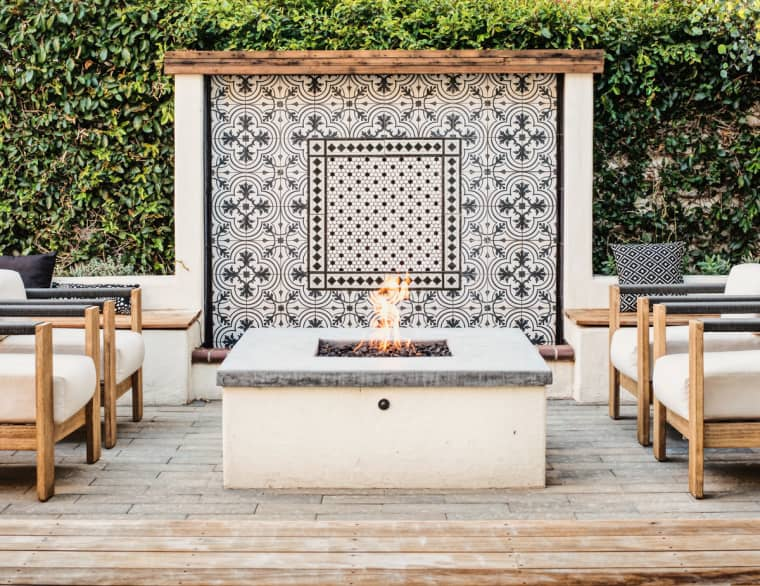 blue and white outdoor fireplace