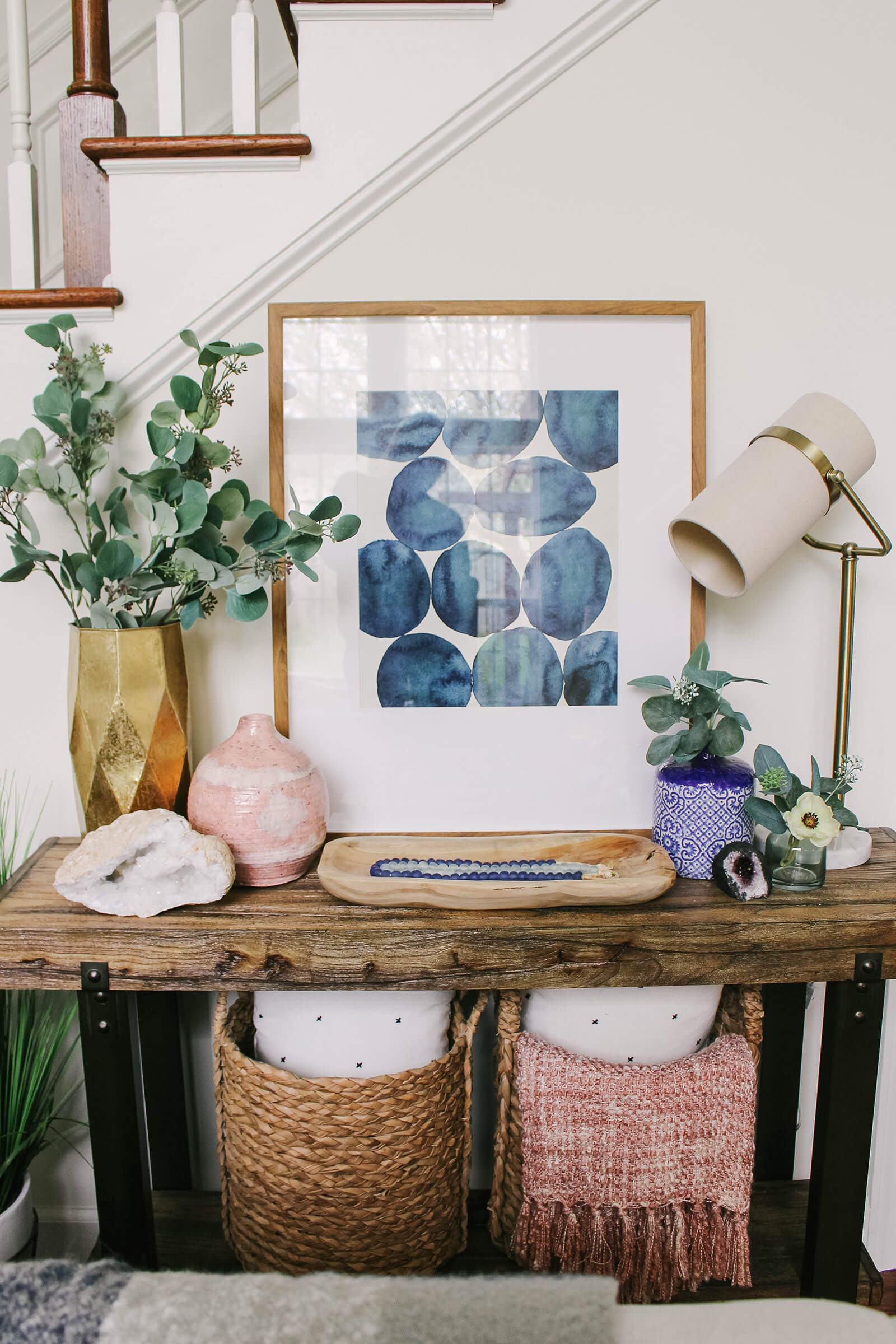 spring themes entryway and storage