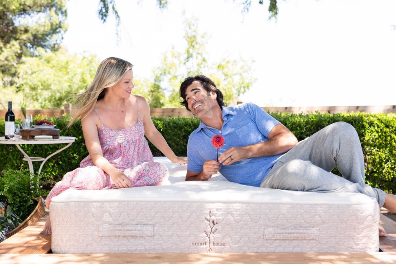 couple outside lounging