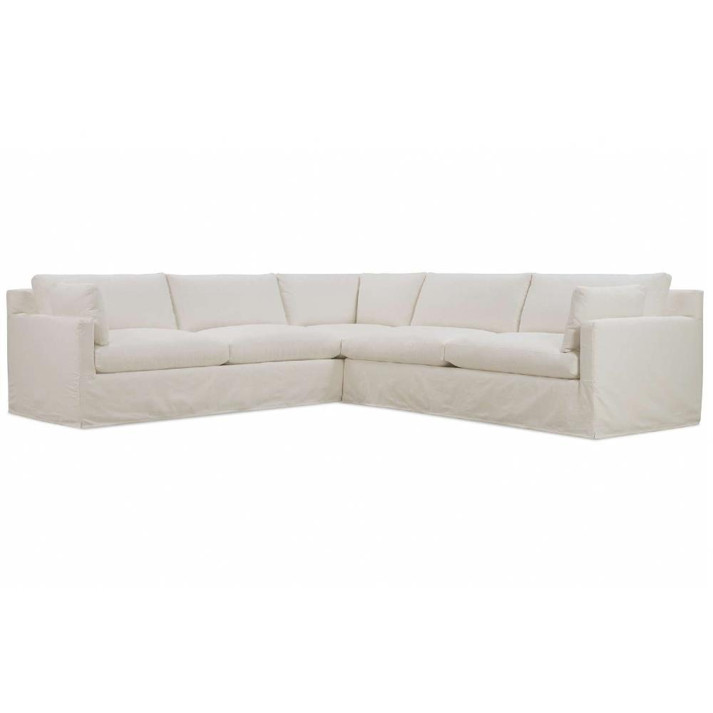 """Aleya Modern Classic White Performance Eco Friendly Slipcovered Sectional Sofa - Left Arm Facing Over 100"""" W 
