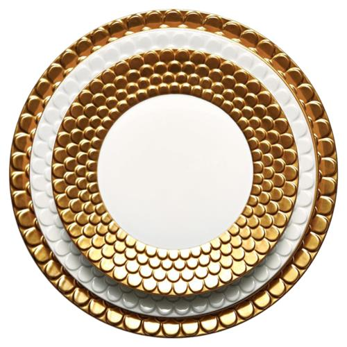 white and gold plates