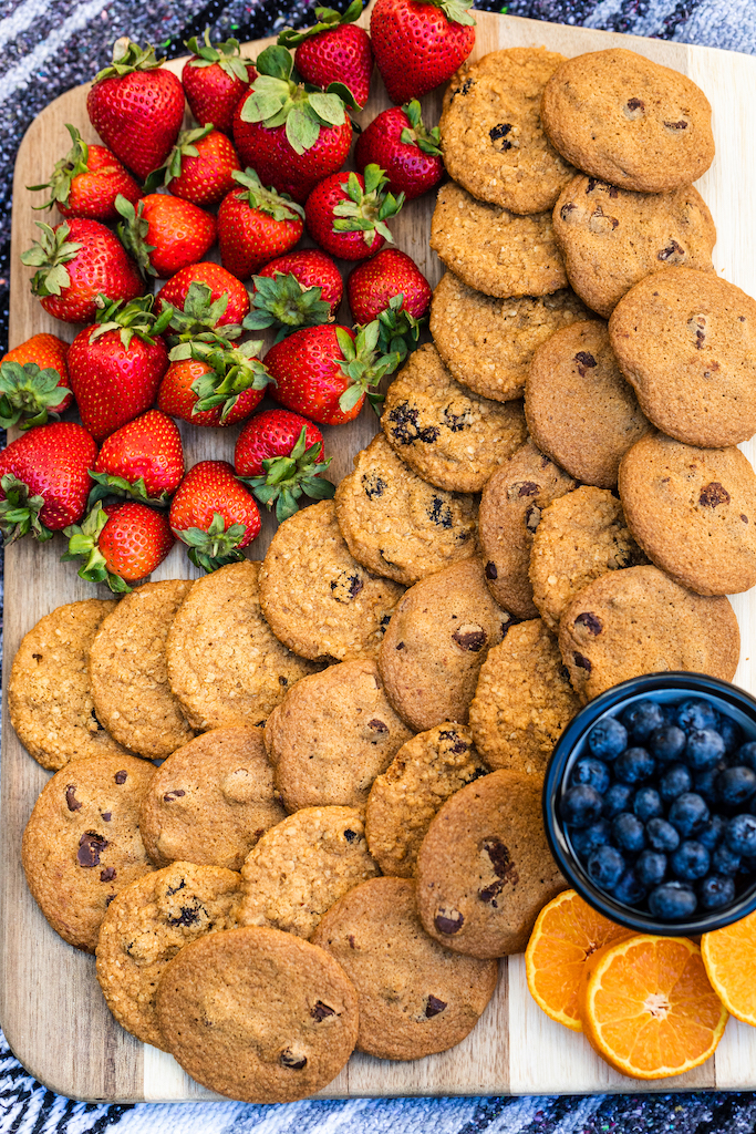 platter of cookies and fruit